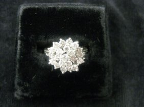 Diamond Ring, Fine Cluster Of Round Diamonds Totali