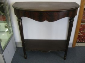 "Mahogany Demilune Table, 32"" Tall, 34"" Wide."