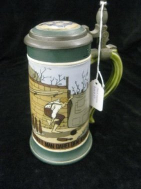 Mettlach Etched Pottery Stein, Bowling Scene, #2957