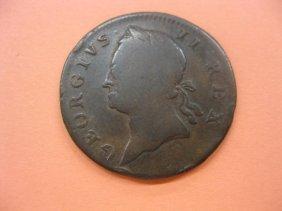 1760 Colonial Hibernia Half Penny, VG+.