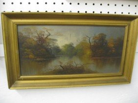 Oil Painting, Autumn Landscape With River,