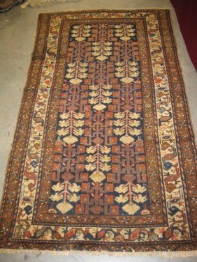Antique Persian Handmade Rug, Stylized Florals And