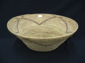 Papago Indian Oval Basket, Decorated,