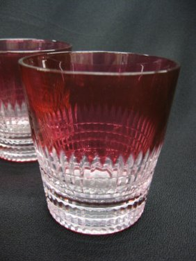 7 Cranberry Cut-to-Clear Tumblers,