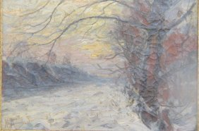 """Harry """"hal"""" Robinson Oil Painting Winter Landscape,"""