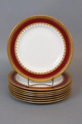8 Royal Crown Derby Porcelain Dinner Plates,