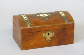 19th Century English Wood Tea Caddy Box,
