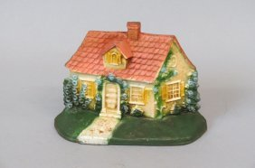 Cast Iron Figural Doorstop Of A Cottage,