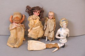 5 Antique Miniature Dolls And Half Doll,