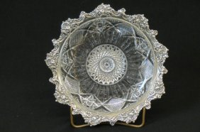 Cut Glass And Sterling Silver Dish,