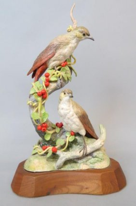 Cybis Porcelain Figurine Of Birds And Berries,