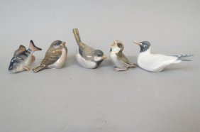 5 Danish Porcelain Figurine Of Fish And Birds,