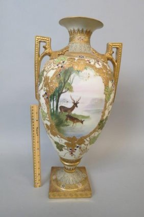 Enormous Nippon Porcelain Jeweled Bolted Urn,