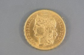 1893 Switzerland 20 Franc Gold Coin,