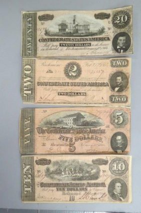 4 Confederate Civil War Virginia Currency,