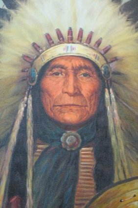 Kenneth Su Oil Painting Of Chief Seattle,