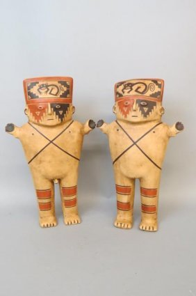 Pair Of Pre-columbian Style Pottery Figures,