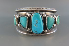 Indian Turquiose And Sterling Bracelet,