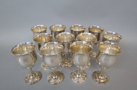 12 Reed & Barton Sterling Silver Goblets,