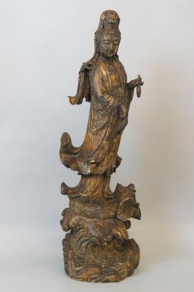 Chinese Carved Wood Figure Of Guanyin,