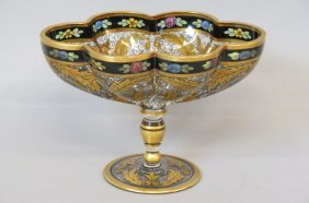 Bohemian Art Glass Compote,