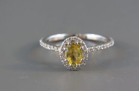 Yellow Sapphire And Diamond Ring By Beverly K,