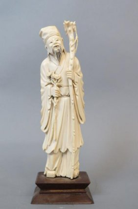 Chinese Carved Ivory Figurine Of An Immortal,