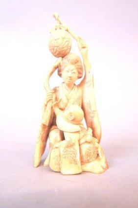 Chinese Carved Ivory Figurine Of A Mother & Child,