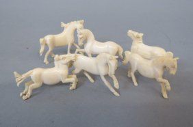 6 Carved Ivory Figurines Of Horses,
