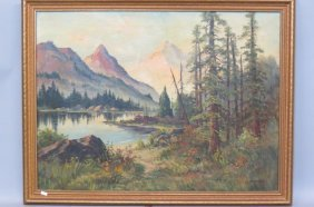 Michael Hasselbar Oil Painting Of A Landscape,