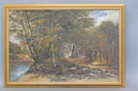 Hermann Groeber Oil Painting Of A Landscape With River,