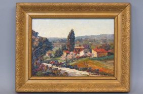 J. Colombini Oil Painting Of Italian Countryside,