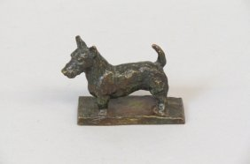 Edith Parsons Bronze Figurine Of A Terrier,