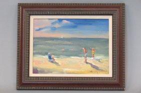 Ted Tihansky Oil Painting Of Beach Goers,