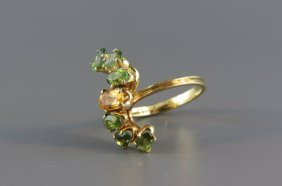 Green Tourmaline And Citrine Ring,