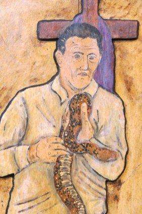 Eric Cunningham Folk Art Painting Of Snake Handler
