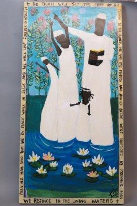 Sister Raya Folk Art Painting Of A Baptism,