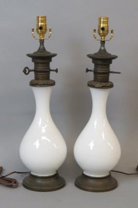 Pair Of Opalene Glass Table Lamps,