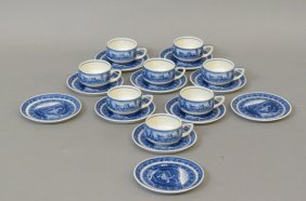 8 Lamberton China B & O Railroad Cups & Saucers,