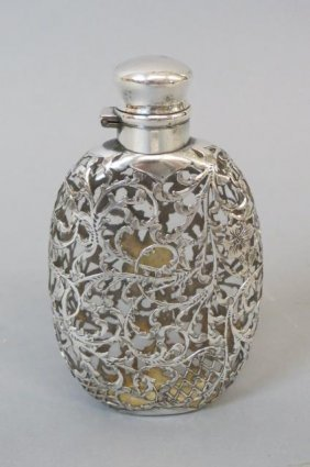 Sterling Silver Overlay Flask,