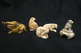 5 Chinese Ivory Netsuke Of Animals,