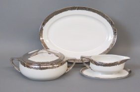 3 Platinum Decorated Rosenthal Porcelain Serving