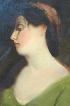 19th Century Oil Painting Of A Young Lady,