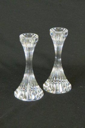 Pair Of Baccarat Cut Crystal Candlesticks,