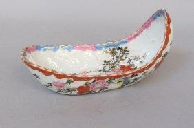 Japanese Kutani Porcelain Boat Shape Dish,