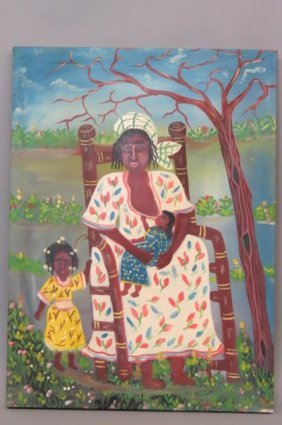 Gerald Fortune Haitian Oil Painting Of Mother Nursing