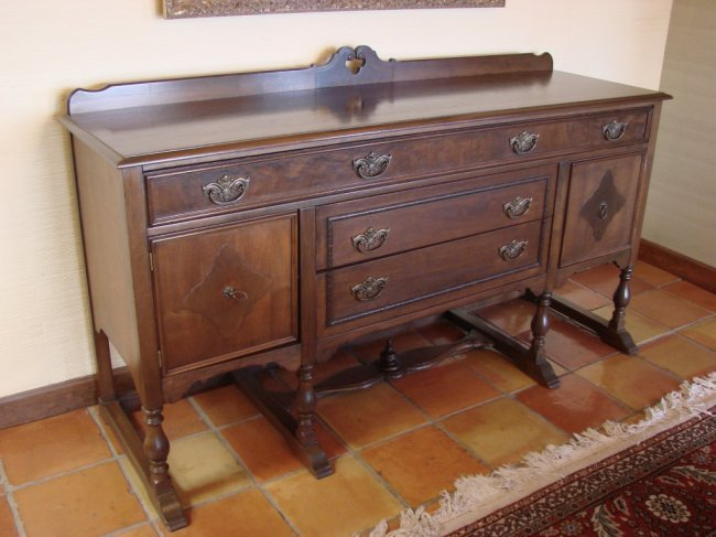Antique quot walnut wood buffet table lot