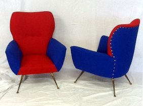 Two Armchairs Italian Manufacturer, 1950 Ca.