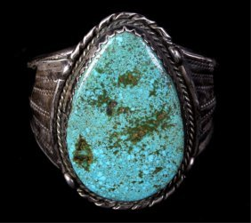 Navajo Turquoise Nugget Sterling Cuff Bracelet