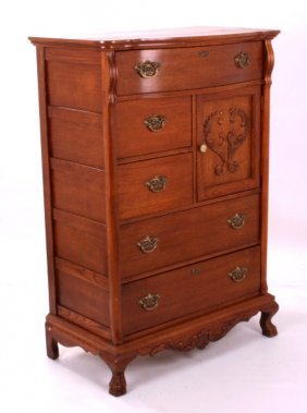 Antique Oak Highboy Gentleman's Dresser